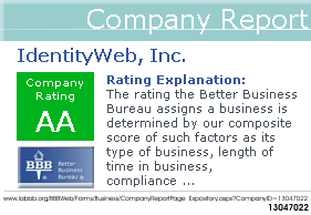 Better Business Bureau rating for IdentityWeb, Inc.