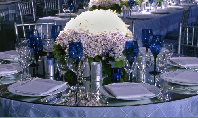 The chairs were all elegant silver charivaris covered with ice blue crushed