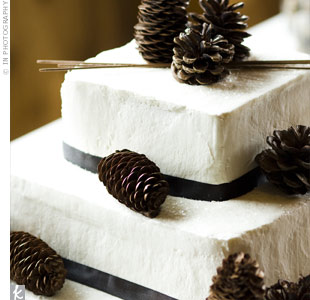 and pine cones gave the confection an elegant winter theme