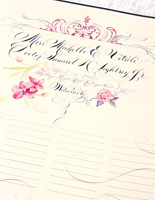Wedding Signing Scrolls in lieu of a Guest Book