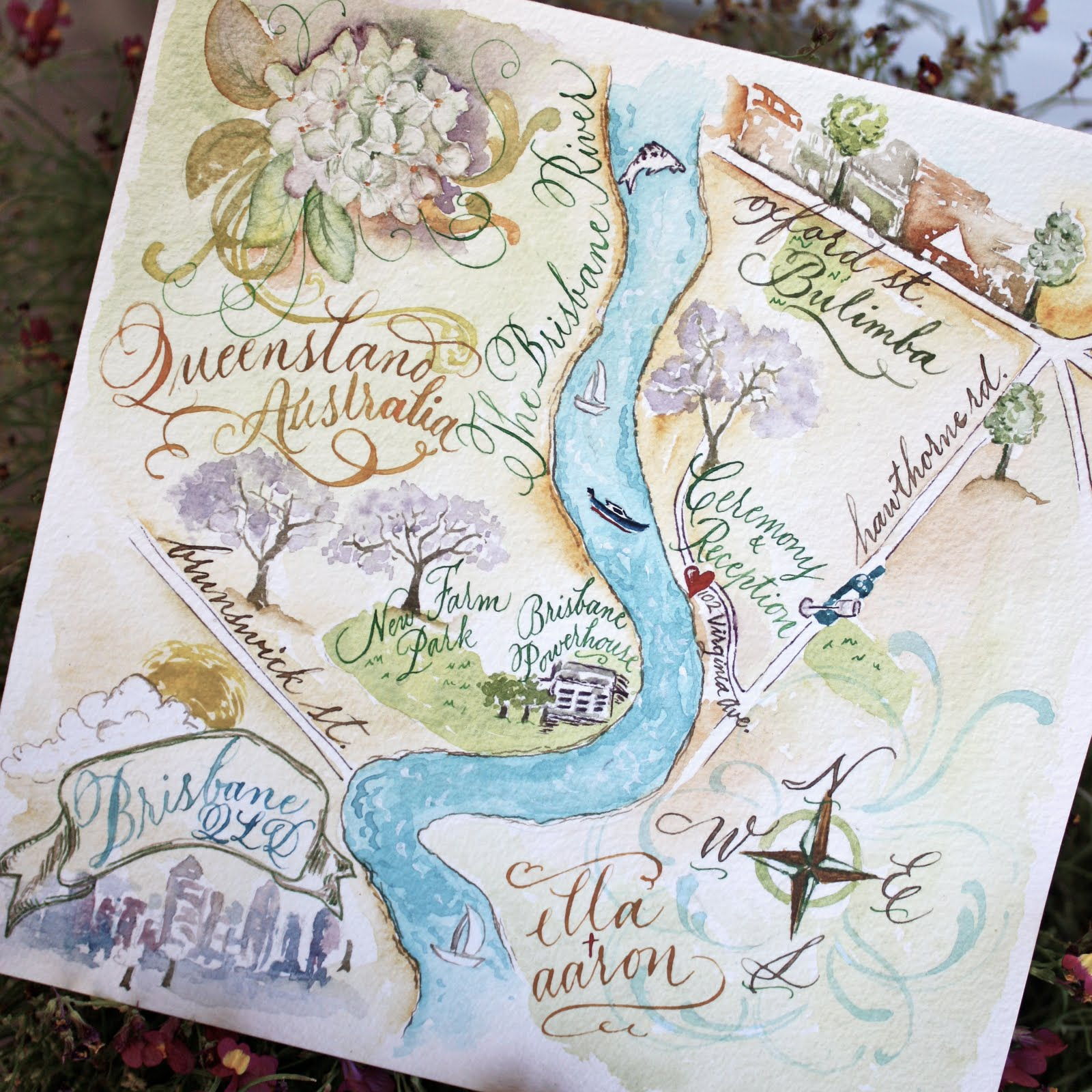 Maps For Wedding Invitations: Calligraphic Maps Add Flair To Your Wedding