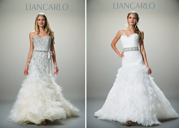 brides of a feather 2012 wedding gowns with plumage