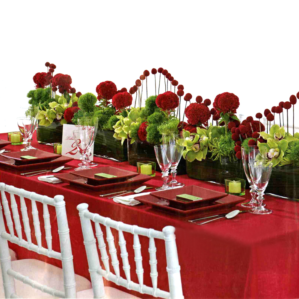 Best wedding planing red wedding reception decoration for Dinette table decorations